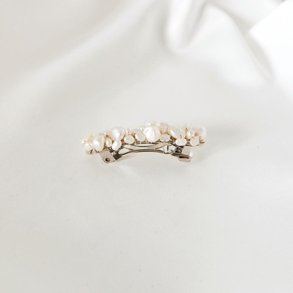ST'ATOUR DELIA - Haarspange mit Perlen Silber