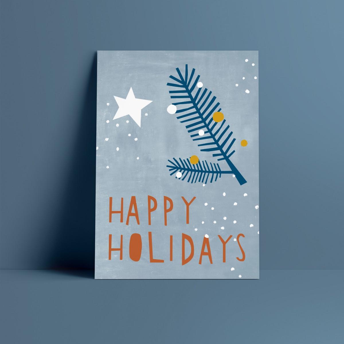 Designfräulein // Weihnachtskarte // Happy Holidays blau