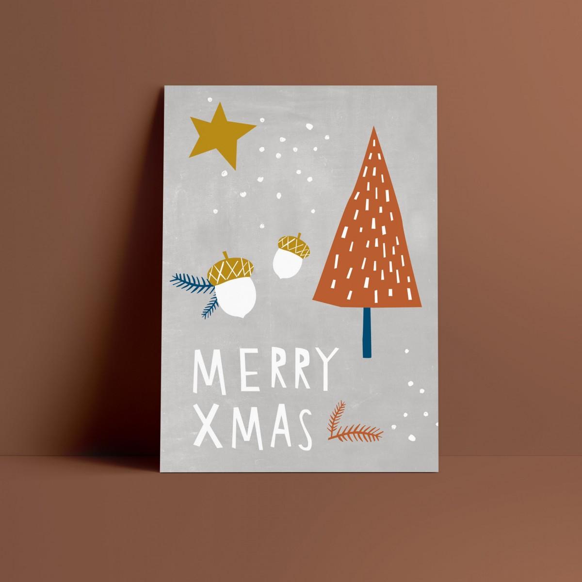 Designfräulein // Weihnachtskarte // Merry Xmas grau