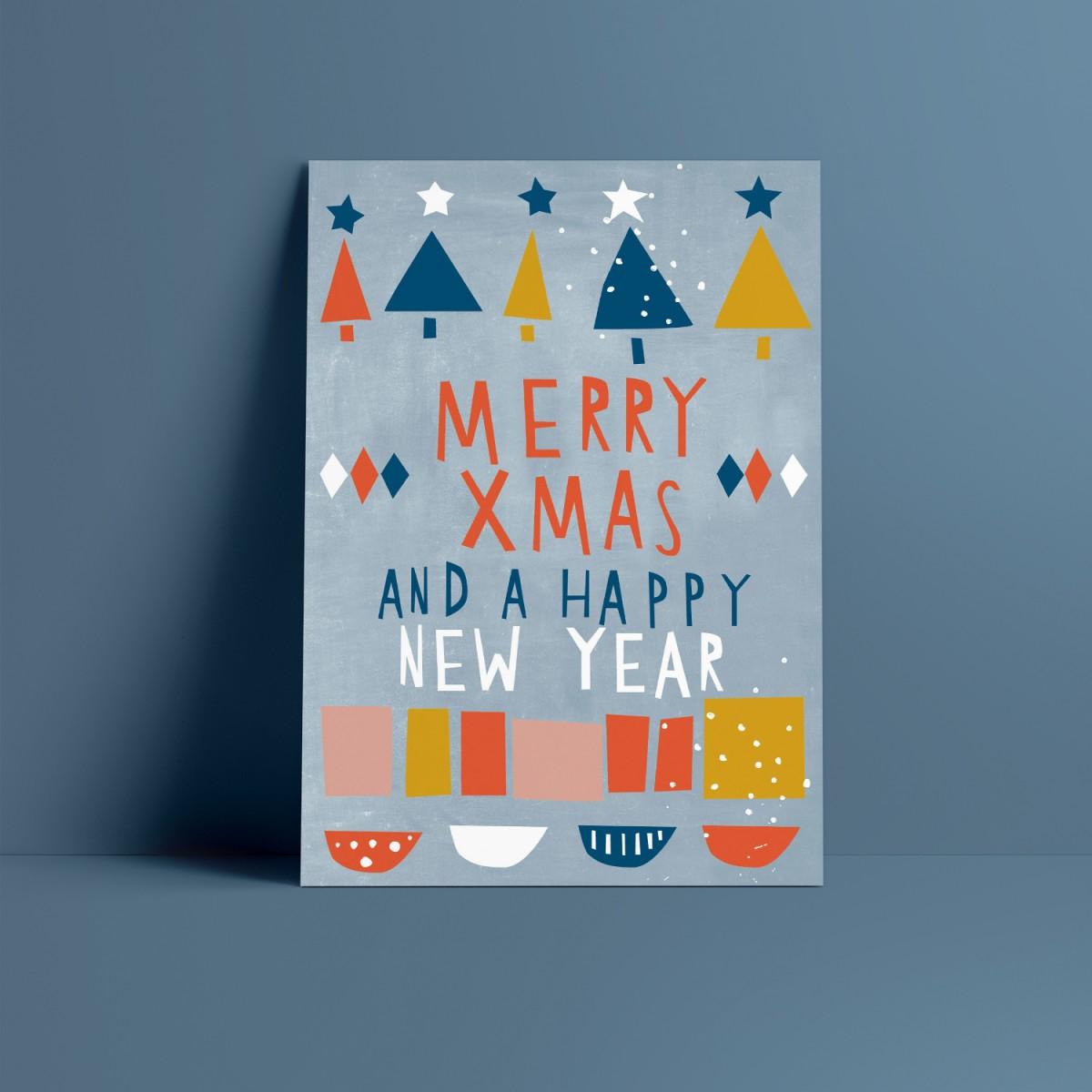Designfräulein // Weihnachtskarte // Merry Xmas and a happy New Year blau