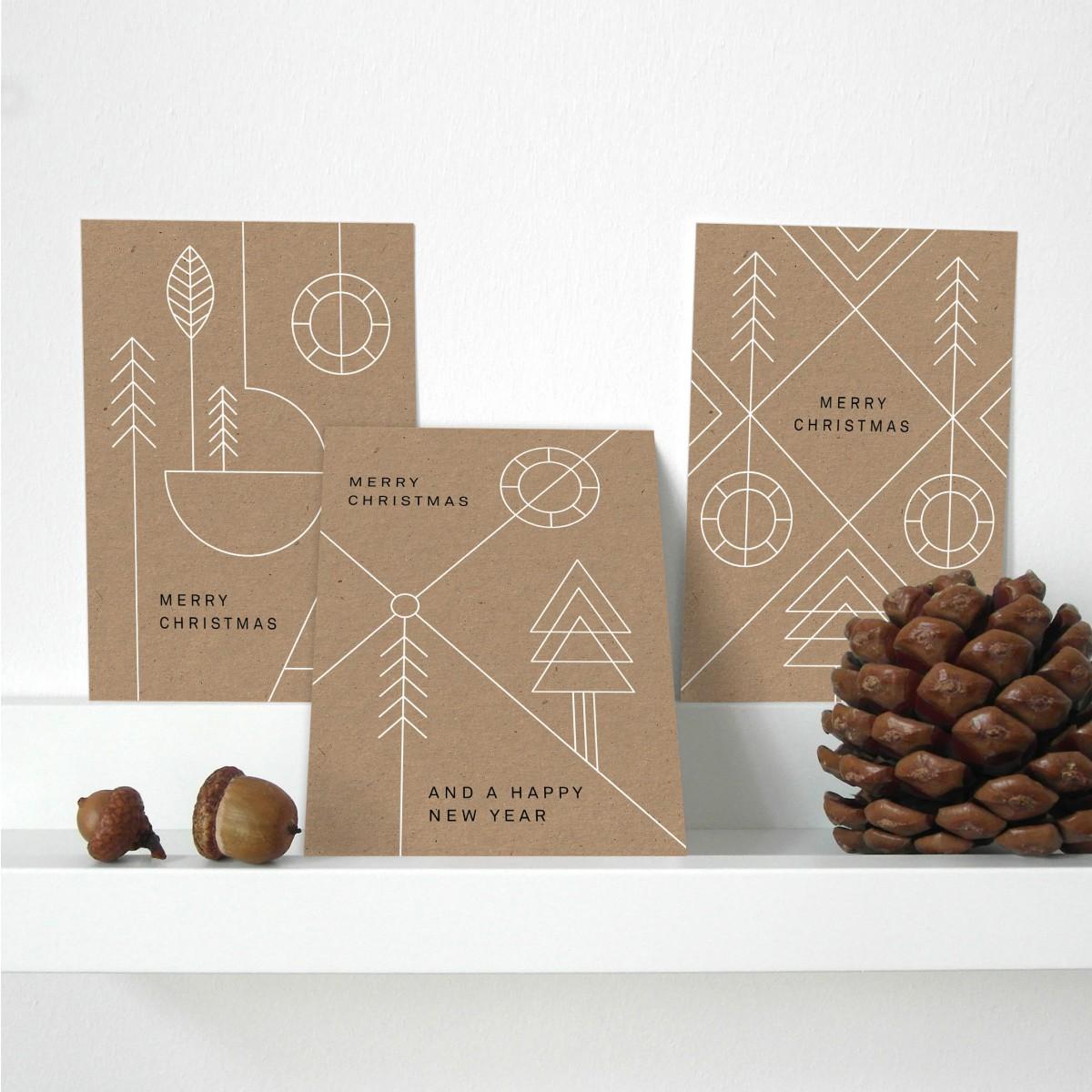 Designfräulein // Weihnachtskarten // 3er-Set // Geometric Xmas