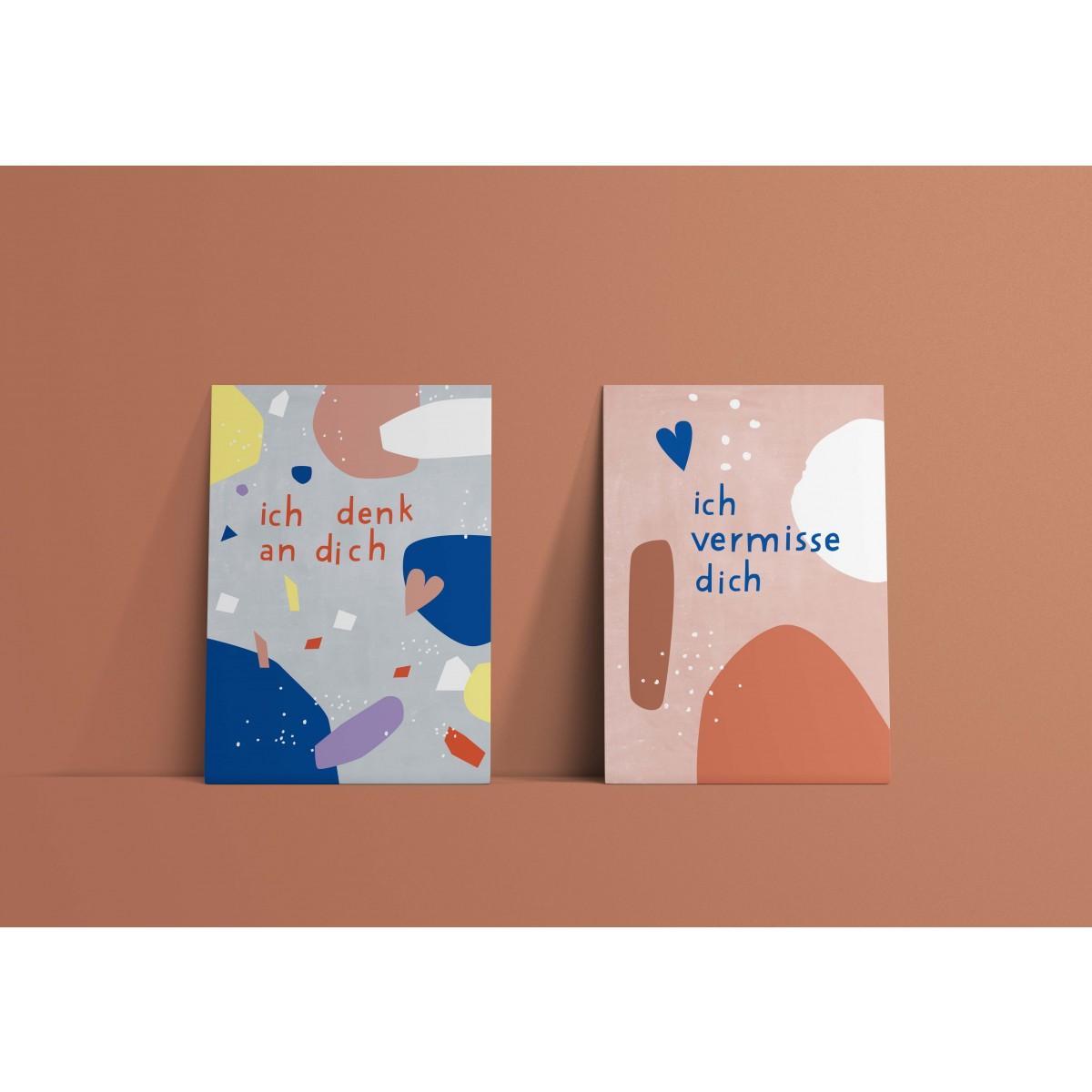 Designfräulein // Postkartenset  // ich denk an dich & ich vermisse dich