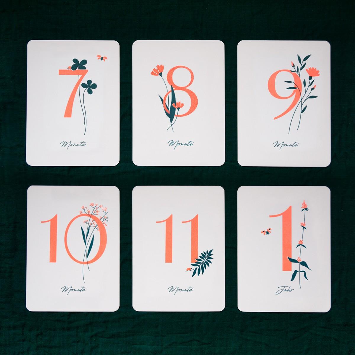 """Geschenkset zur Geburt """"Wild Flower"""" / Meilensteinkarten + passende Bilderleiste aus Eiche Glückwunschkarte, Risographie Art Print"""