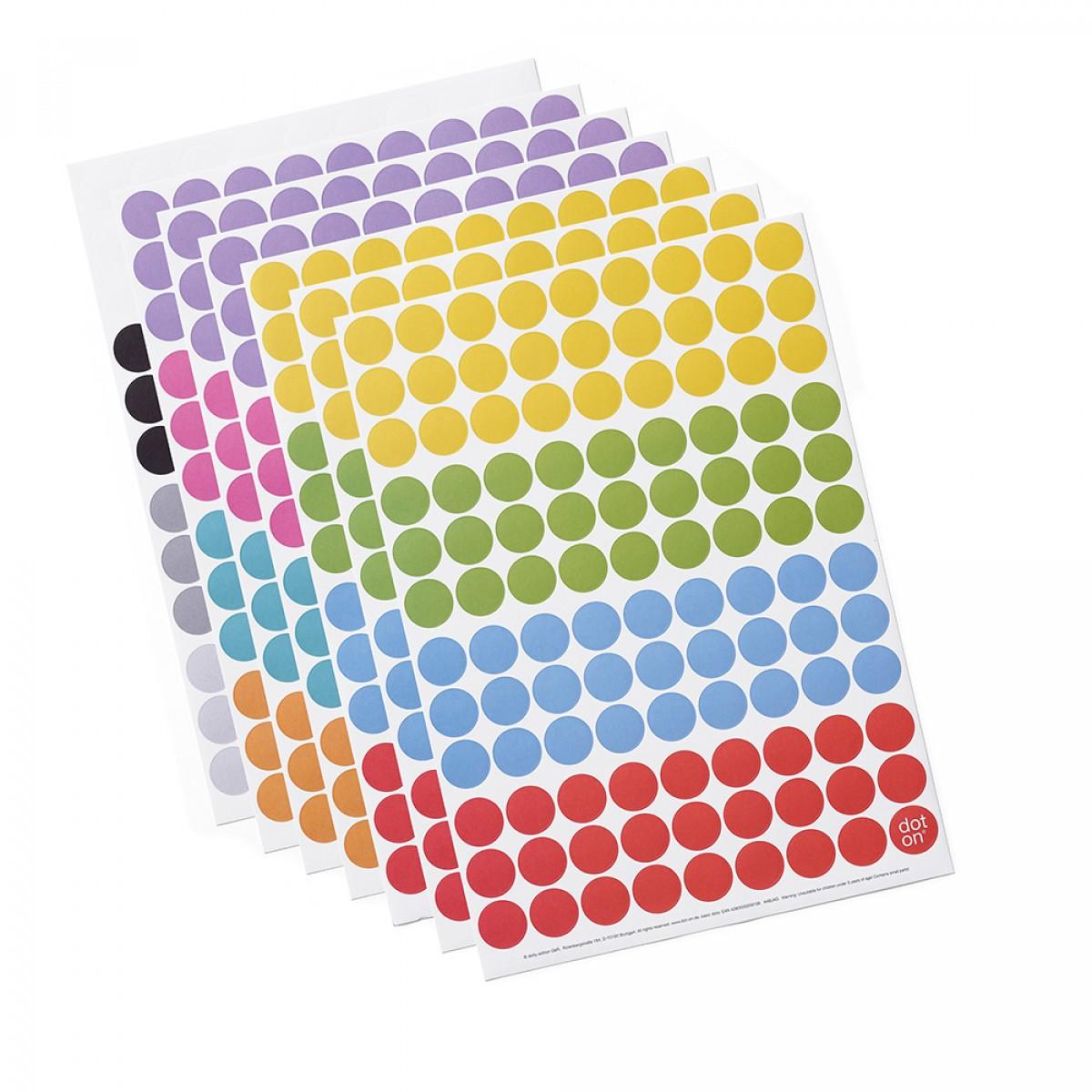 dot on half / Halbjahresplaner 2021 – mit Klebepunkten in 12 Farben