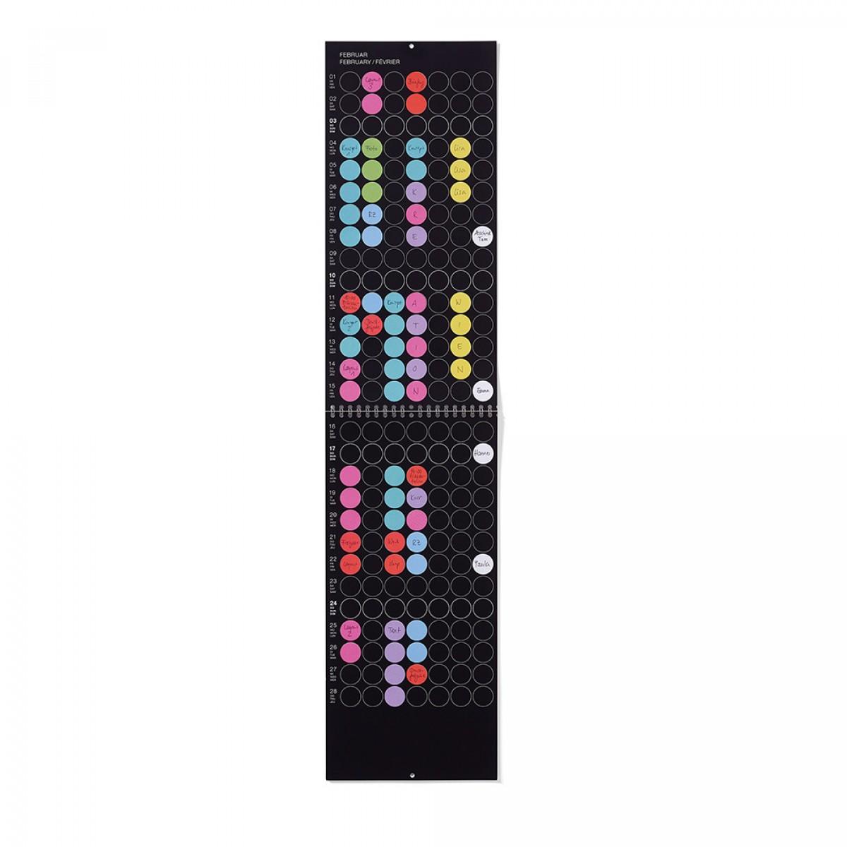 dot on maxi / Monatsplaner 2019 – mit über 700 Klebepunkten in 12 Farben