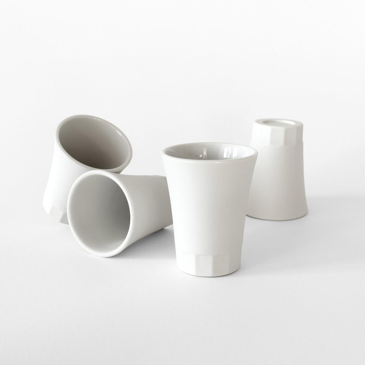Set Tässchen für Espresso, Limoncello, und Schnaps. Weiß Porzellan POSITANO Kollektion by ORTOGONALE