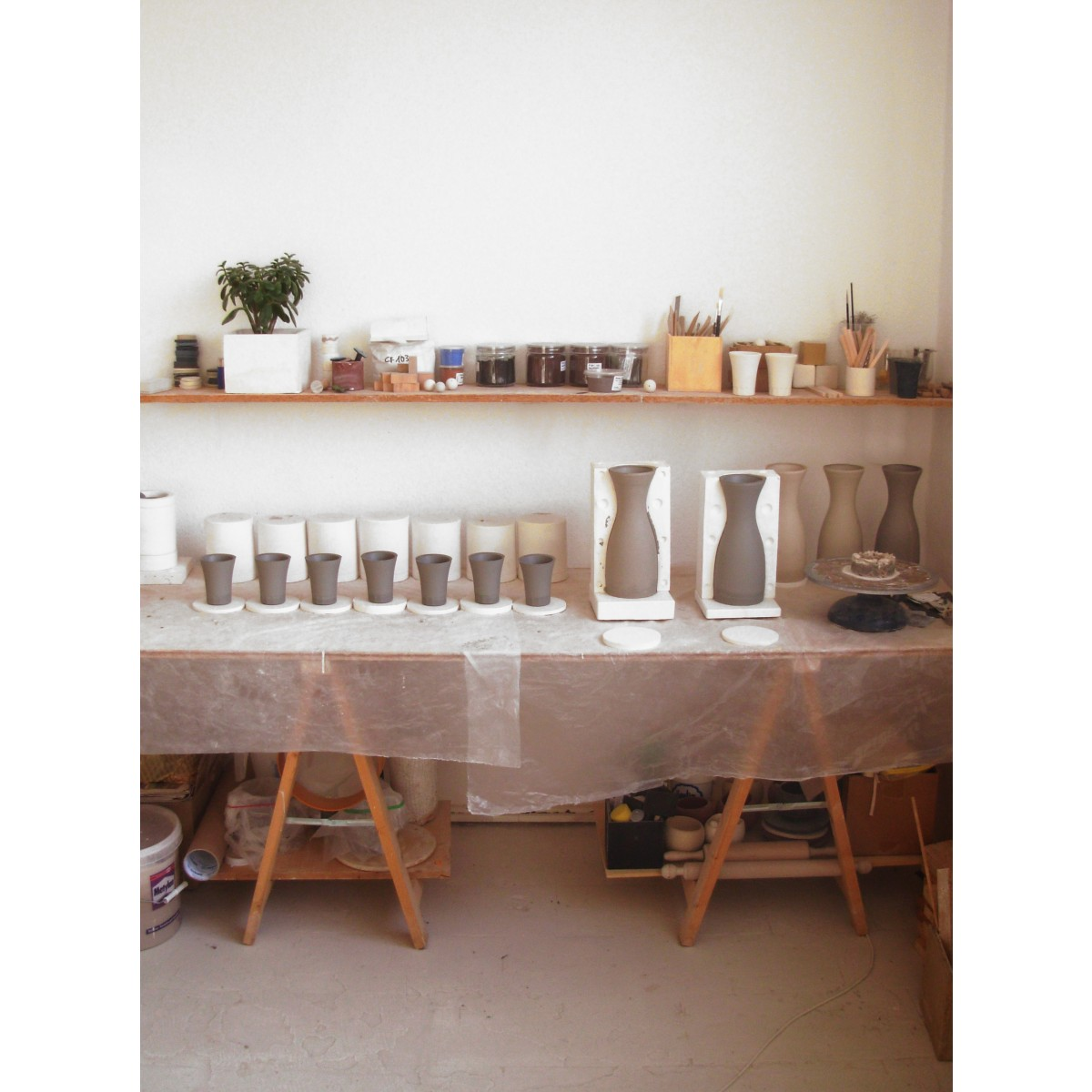 MONDOCUBO POSITANO Komplettes Set aus Porzellan (weiß) 1 Karaffe + 4 Becher + 4 Espressotasse