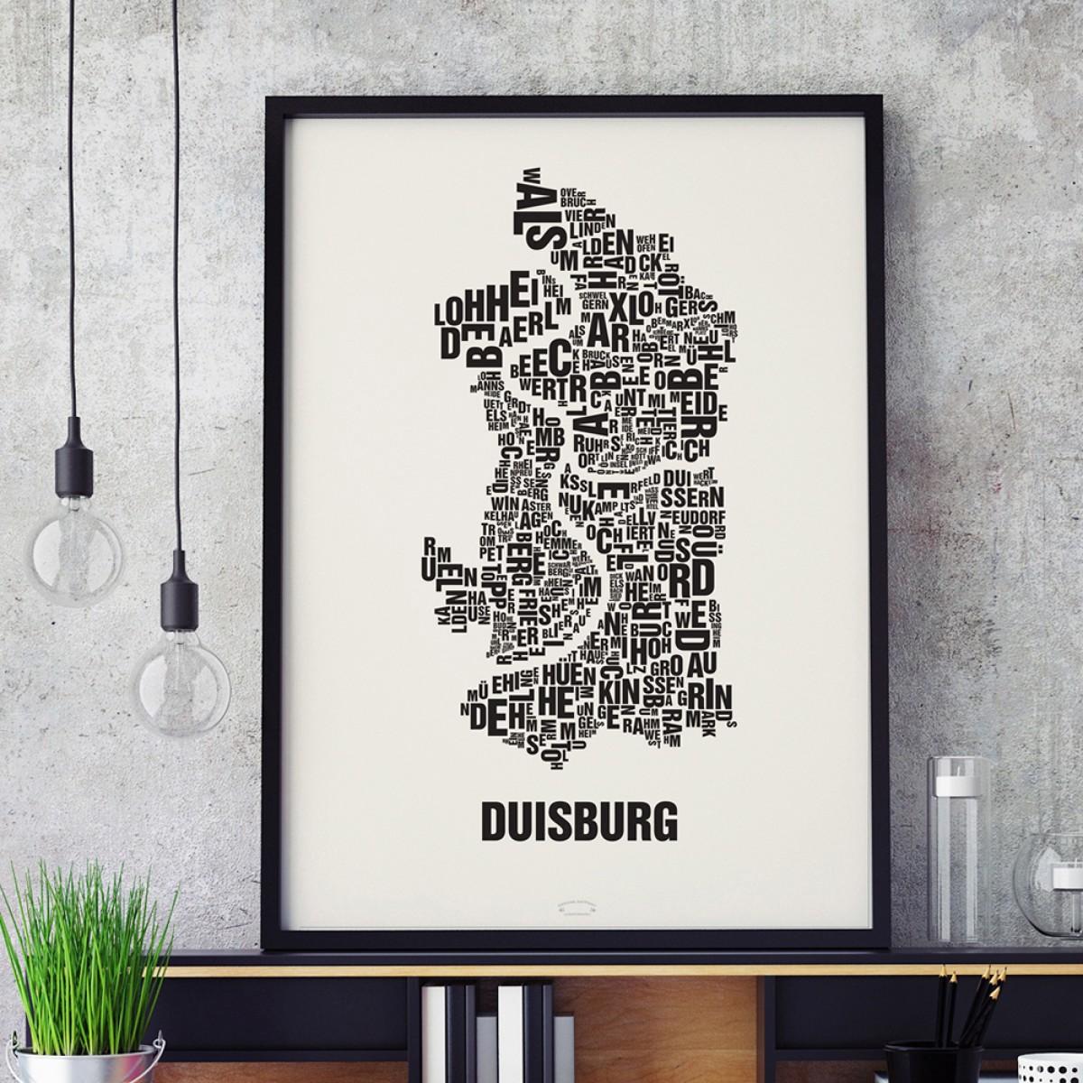 Buchstabenort Duisburg Stadtteile-Poster Typografie Siebdruck