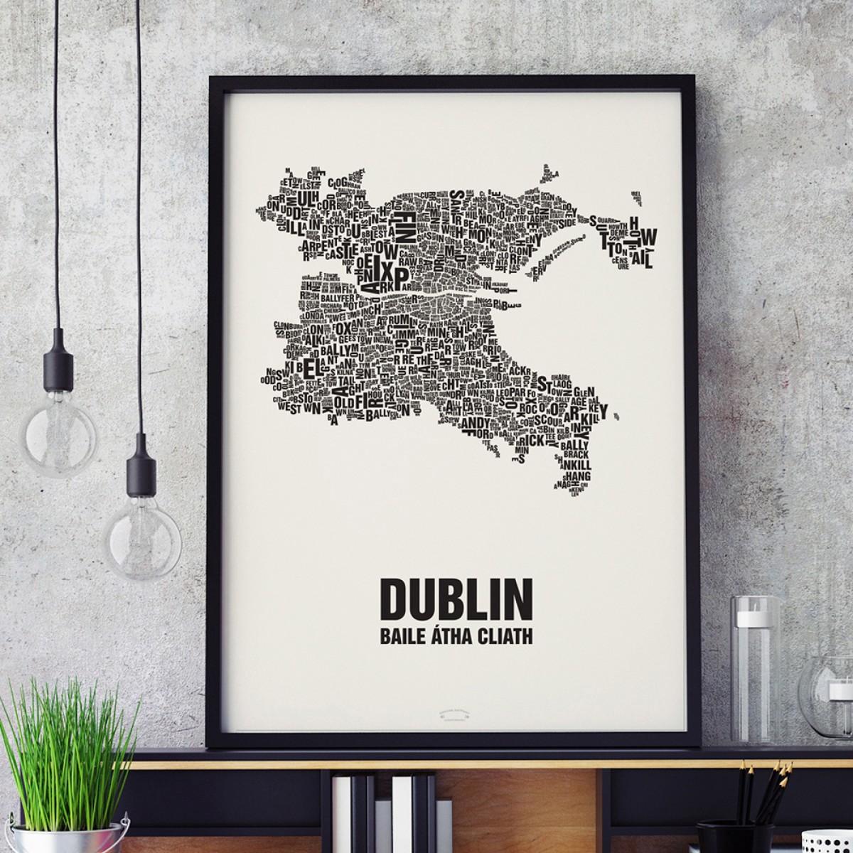 Buchstabenort Dublin Stadtteile-Poster Typografie Siebdruck