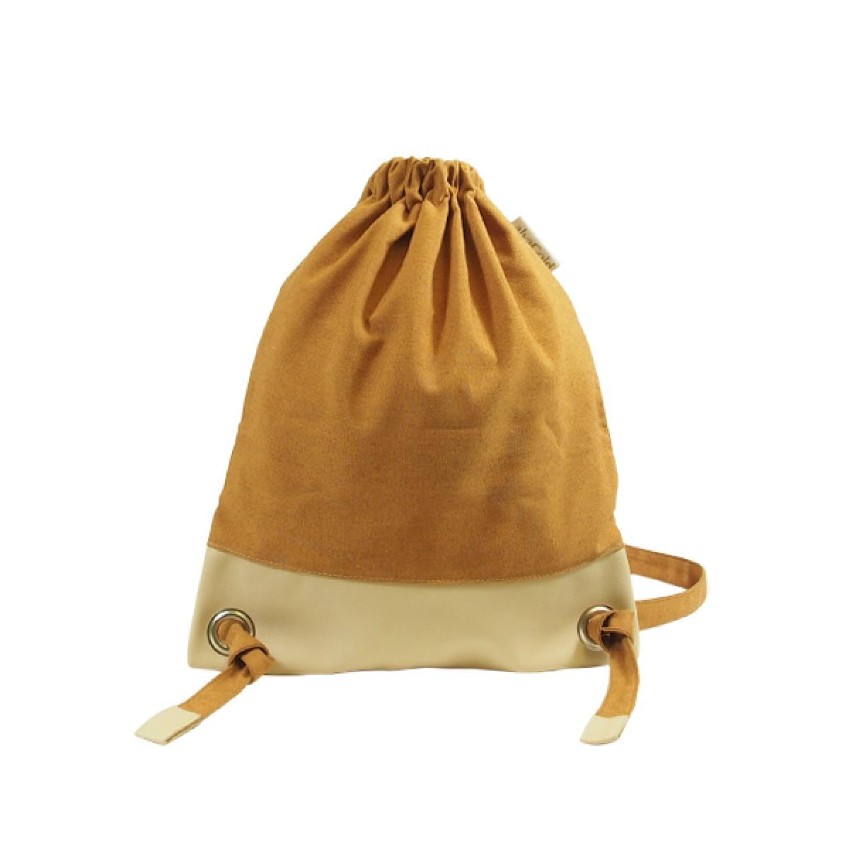 alva Daypack Delüx Recyclingrucksack aus wiederverwendetem Markisentuch/Leder (braun)