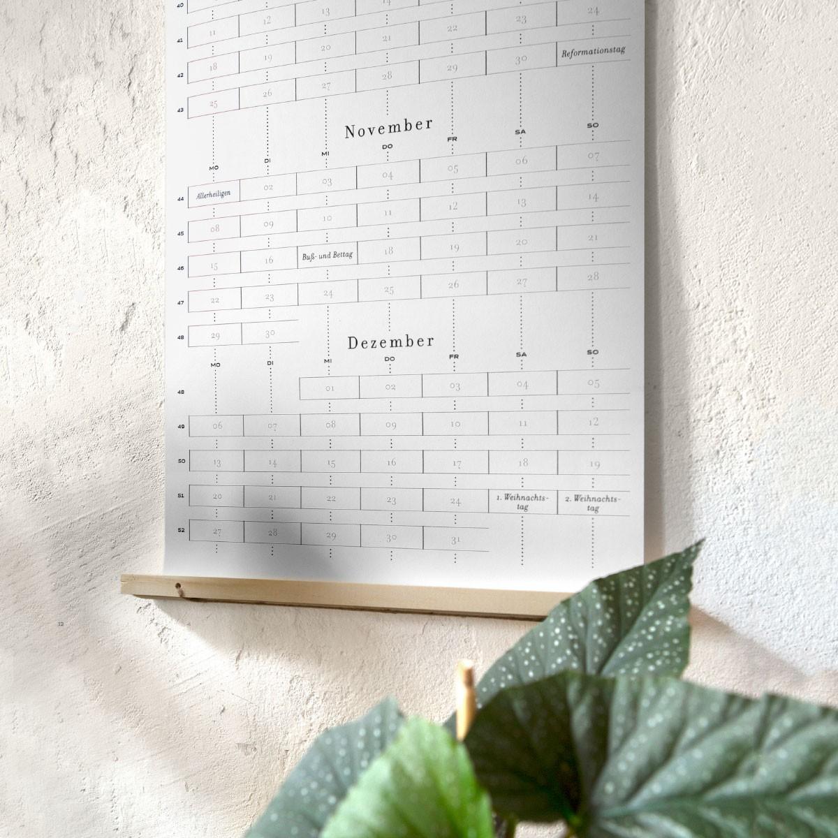 Days & Dots 2021: Rare Edition zweiseitiger Siebdruck-Wandkalender inkl. Aufhängung