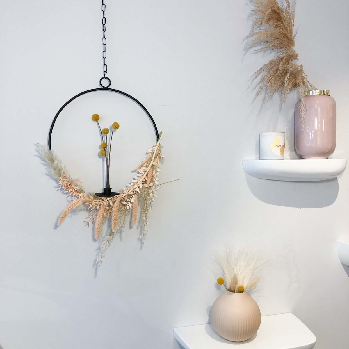 adorist - Dekoring mit Vase/Kerzenhalter Ijus Rund, schwarz