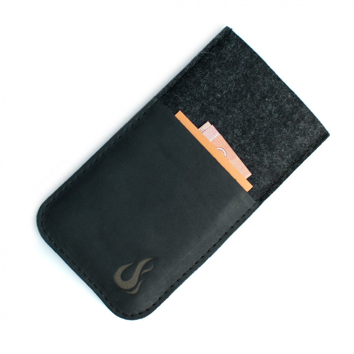 Hülle für iPhone 12 Pro Max mit Visitenkartenfach- charcoal/black (Filz und Leder) - Burning Love