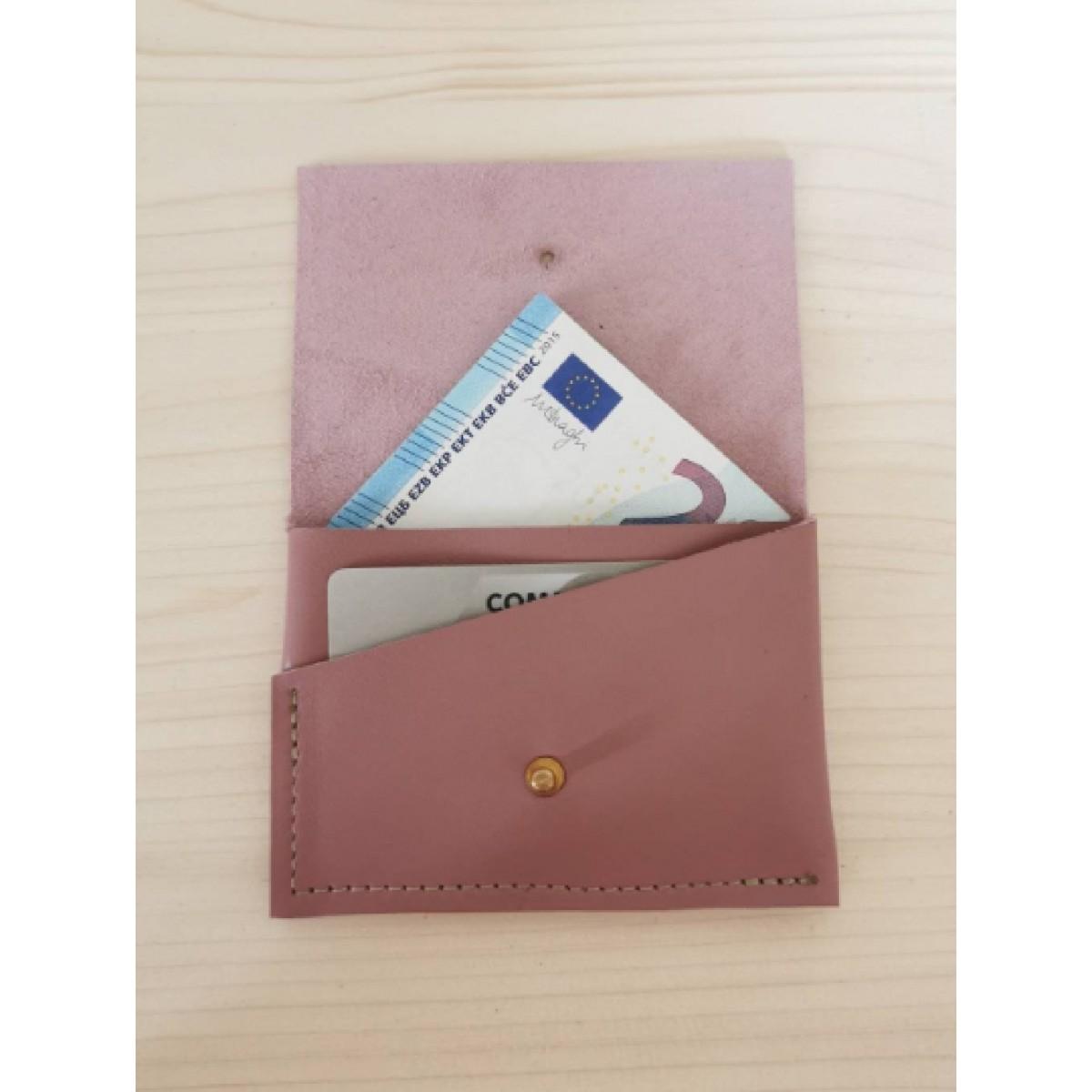 BSaite / Mini Leder Portemonnaie / kleine Leder Geldbörse / Leder Kartenetui / rosane Geldbörse