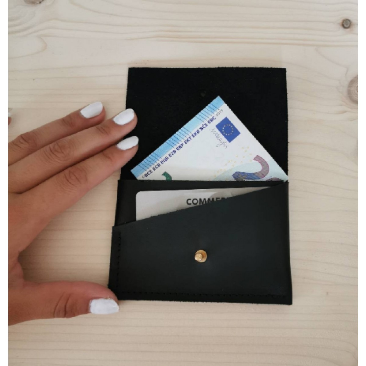 BSaite /  Schwarzes Mini Leder Portemonnaie / kleine Leder Geldbörse / Leder Kartenetui / tiny wallet