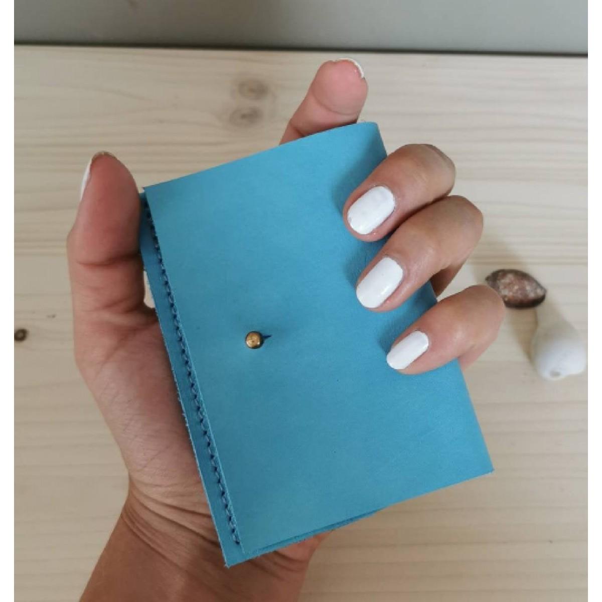 BSaite / Mini Leder Portemonnaie / kleine Leder Geldbörse / Leder Kartenetui / tiny wallet / hellblauer Geldbeutel
