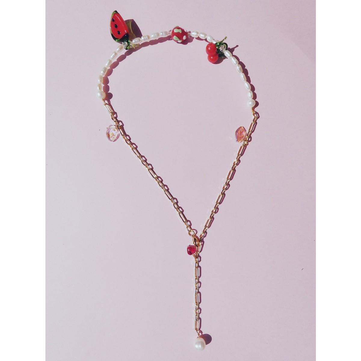 Valerie Chic - HAPPY RED FRUITS Perlen Kette - 1 Kette 2 Stile