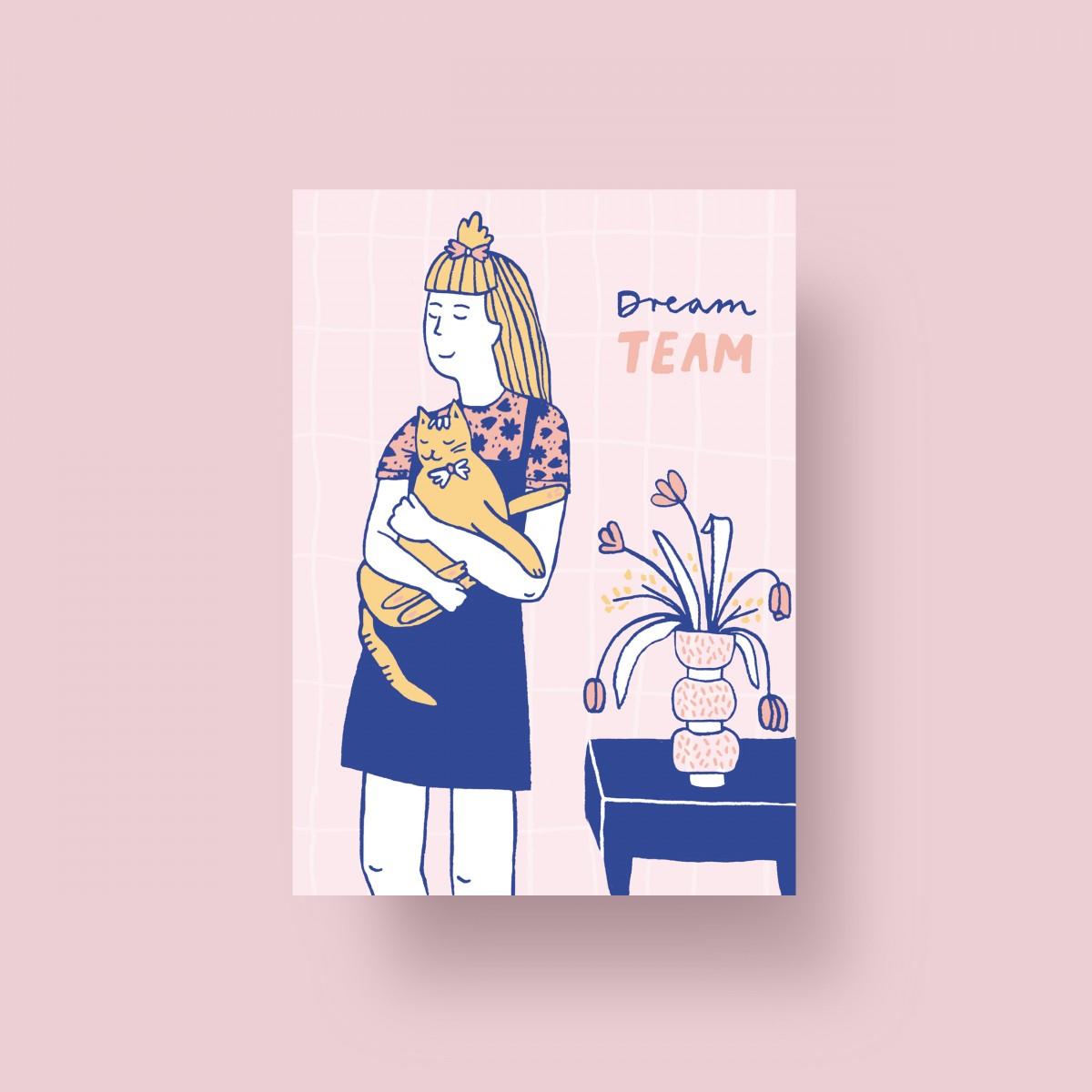 """Notietzblock Postkarte """"Dream Team"""" für Katzen Liebhaber, A6"""