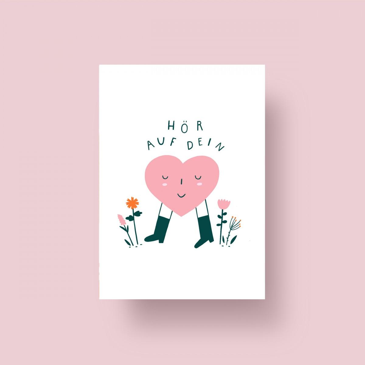 """Notietzblock Postkarte """"Hör auf dein Herz"""", A6"""