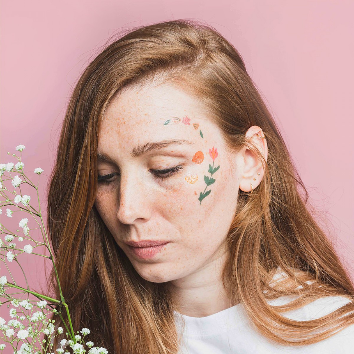 Notietzblock Temporäre Tattoos Blumen Set - bunt