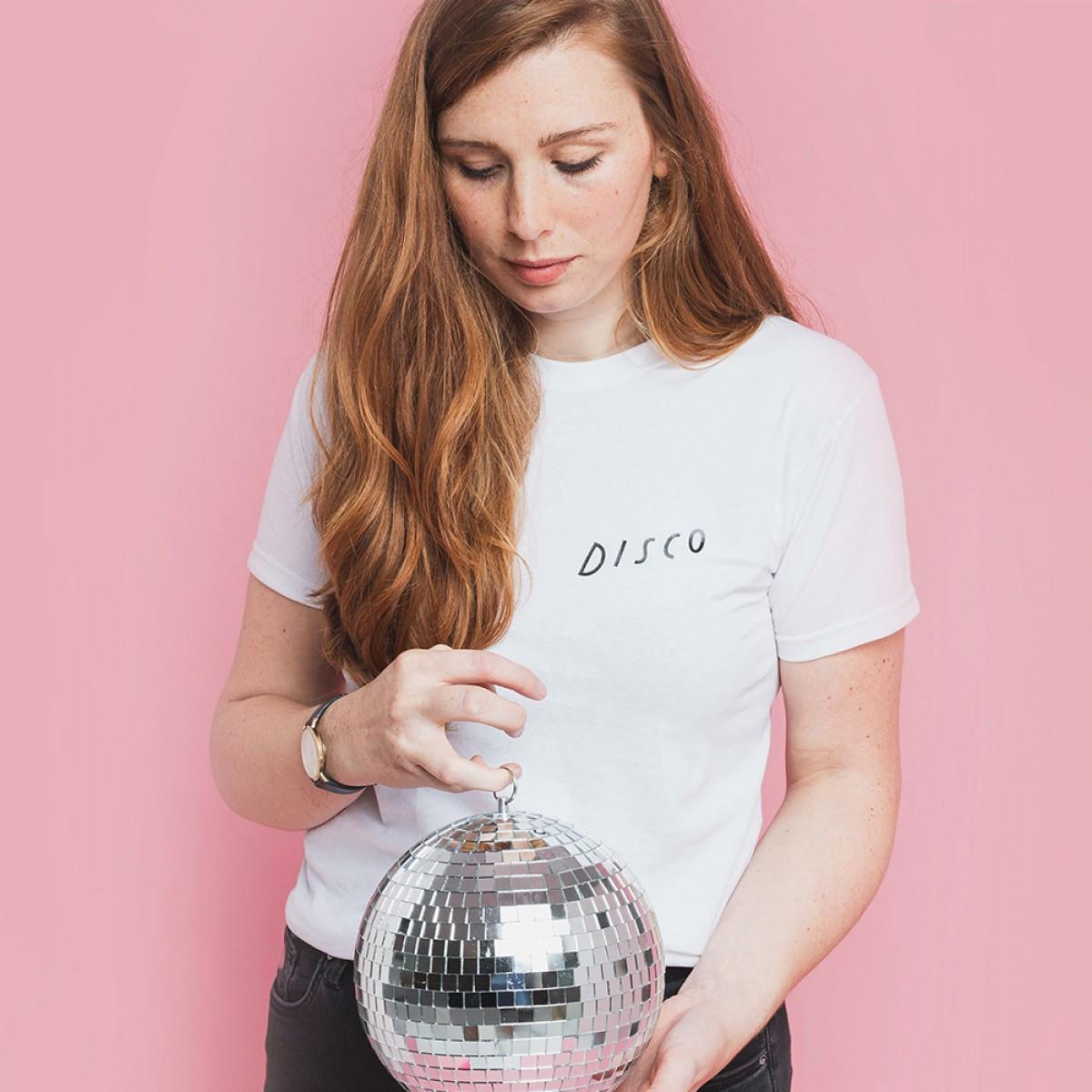 Notietzblock Disco Tshirt weiß