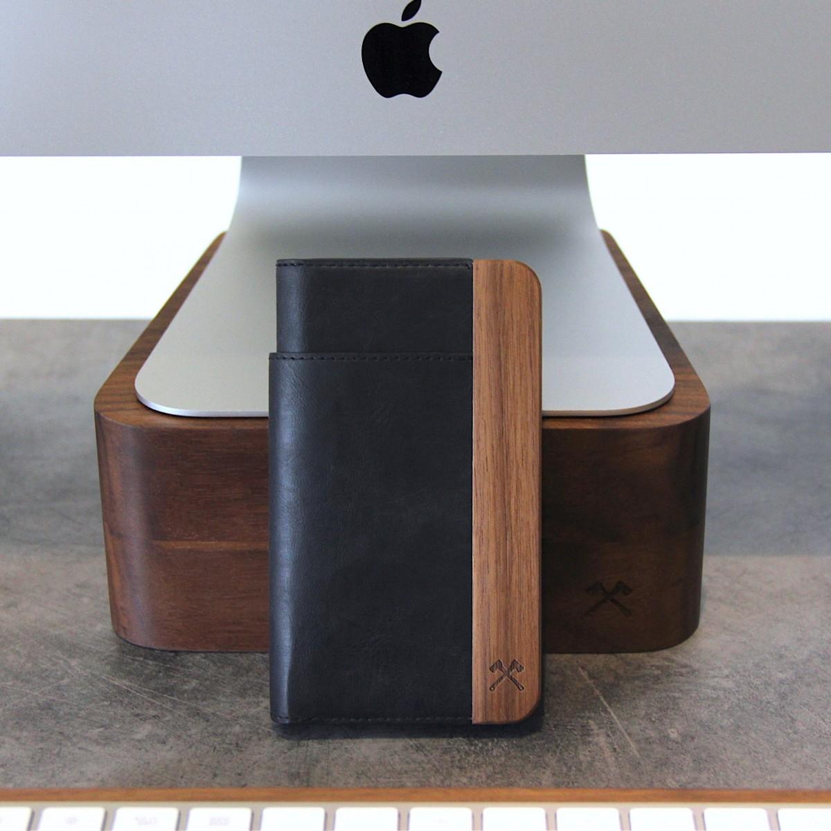 Woodcessories - EcoWallet - Premium Design Hülle, Case, Cover für das iPhone aus FSC zert. Walnuss Holz & hochwertiger Lederoptik (iPhone Xs Max)