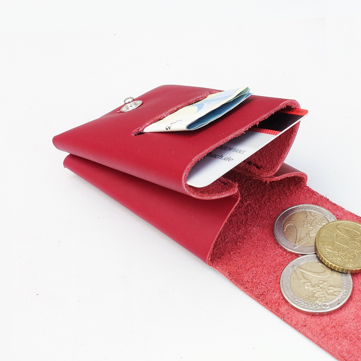 Geldbörse mini, Börse, Leder, Slimwallet, handgenäht, viele Farben