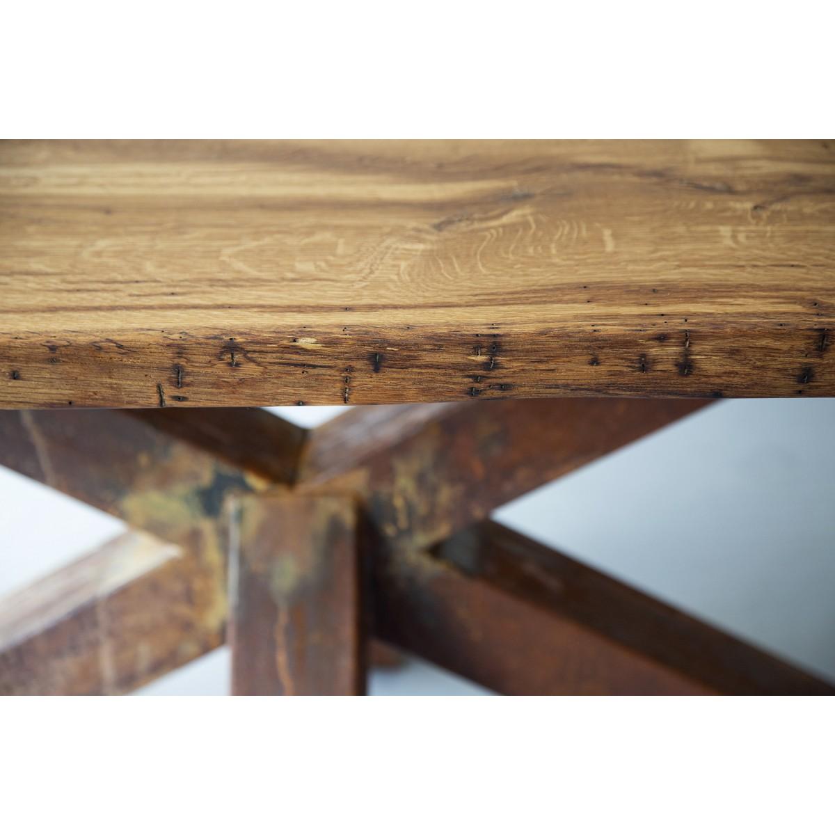 Esstisch aus Altholz Eiche & FraaiBerlin Eisen Erika 240x100cm Rostbeschichtung