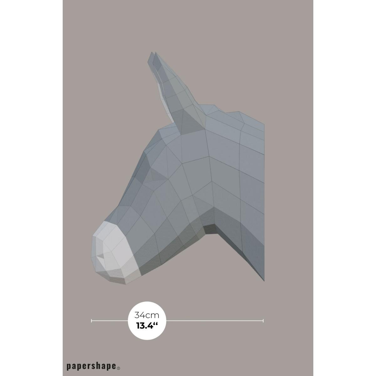 Esel - Vegane Tiertrophäe aus Papier im DIY Kit
