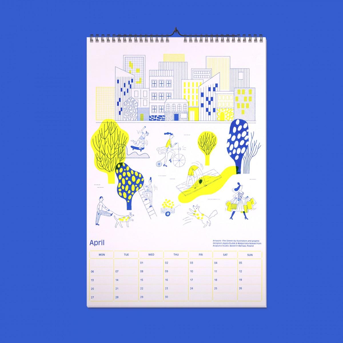 EVERYDAY ORNAMENTS Design Monats Kalender 2020/ 13 Kunstdrucke von internationalen Künstlern/ DIN A3 in leuchtenden Farben im Siebdruck-Stil