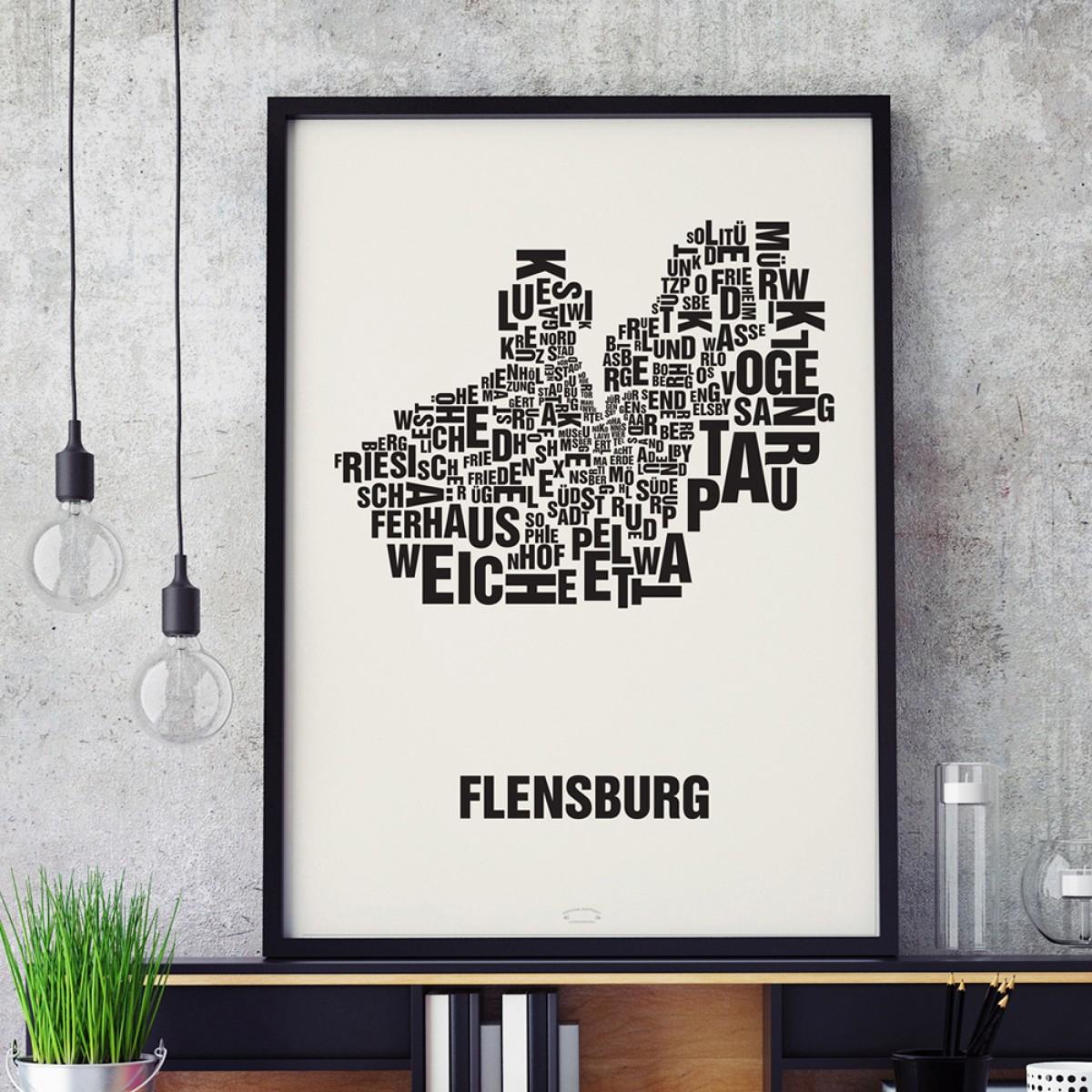 Buchstabenort Flensburg Stadtteile-Poster Typografie Siebdruck