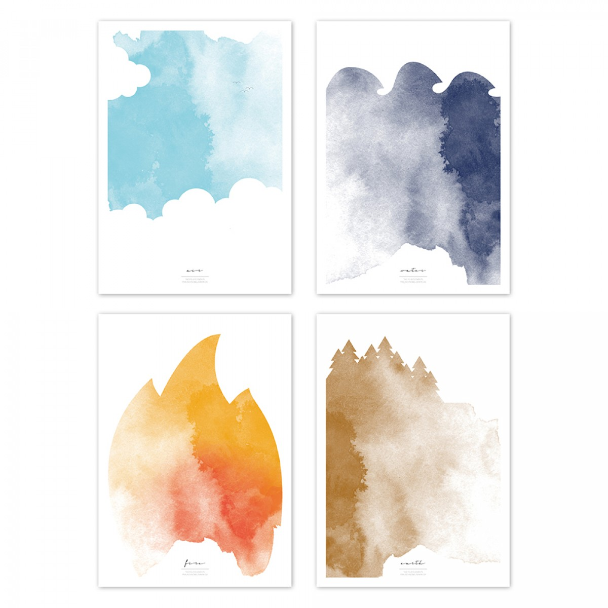 Frau Schnobel Grafik THE FOUR ELEMENTS 4er-Set Drucke