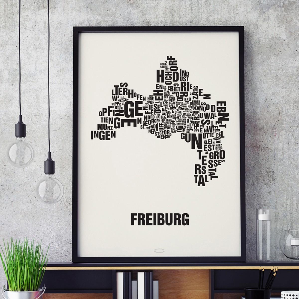 Buchstabenort Freiburg Stadtteile-Poster Typografie Siebdruck