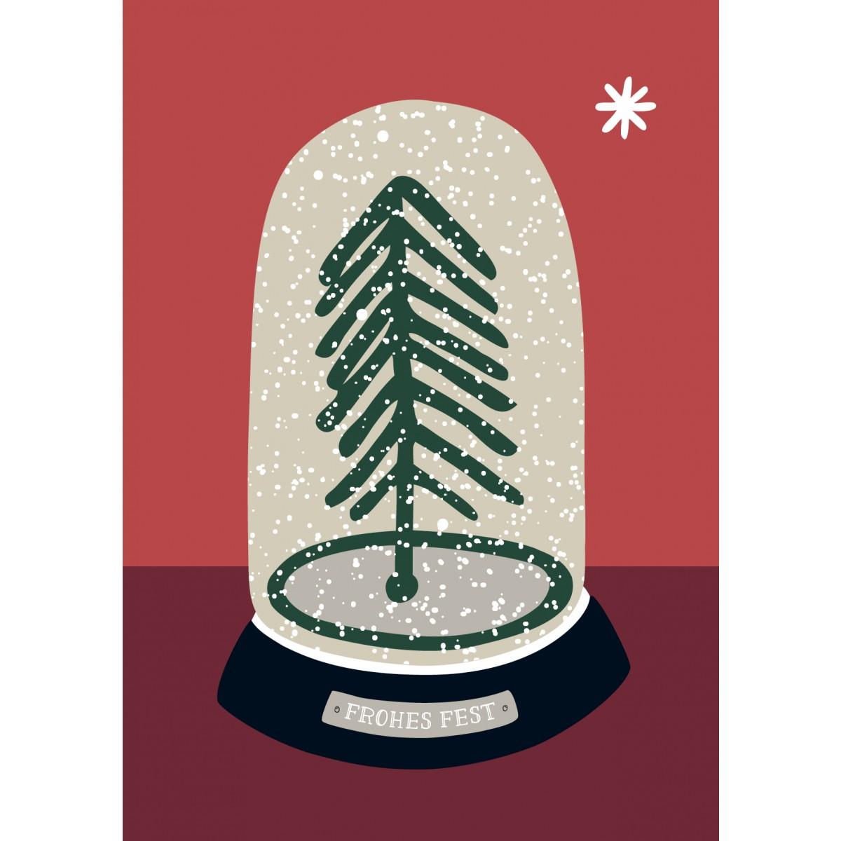 """Family Tree Shop 3 Weihnachtspostkarten """"Schneekugel"""""""