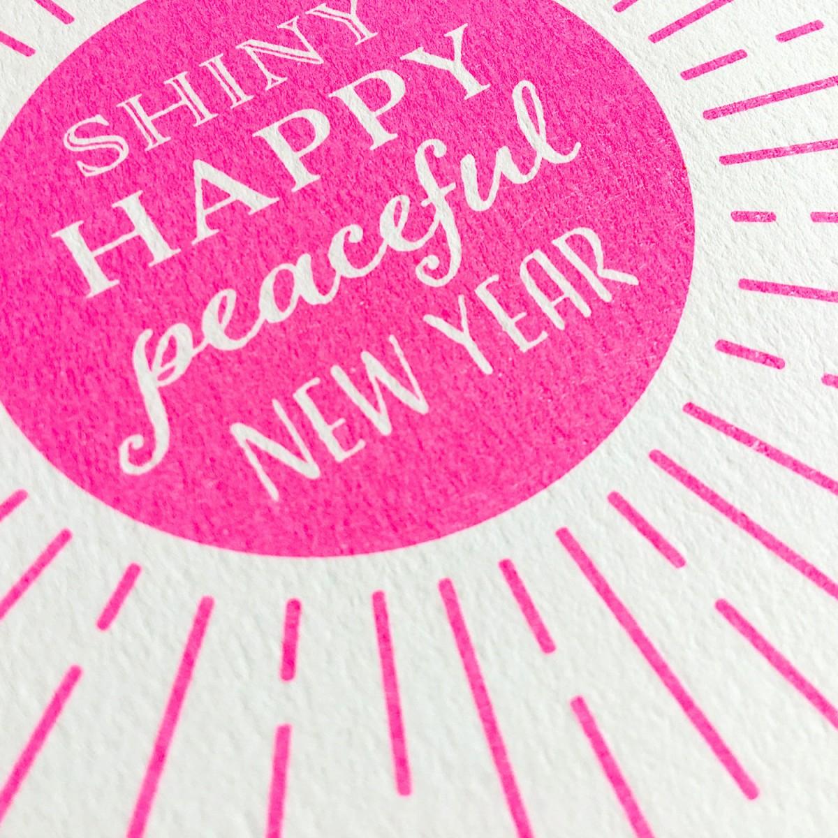 Feingeladen // KARAOKE INSPIRED // Shiny happy peaceful New Year (FP) Klappkarte, A6