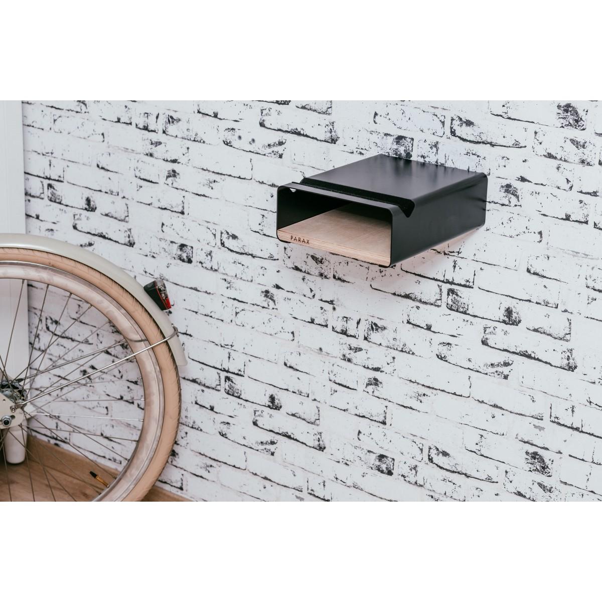 Design Fahrrad-Wandhalterung S-RACK | Schwarz mit Birken Holz | für Rennrad Hardtail & Cityrad | Fair in Deutschland gefertigt