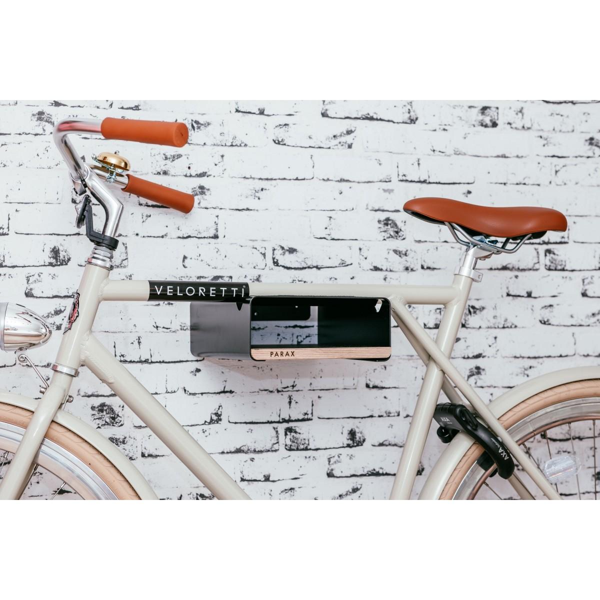 Design Fahrrad-Wandhalterung S-RACK   Schwarz mit Holz Weiß   für Rennrad Hardtail & Cityrad   Fair in Deutschland gefertigt