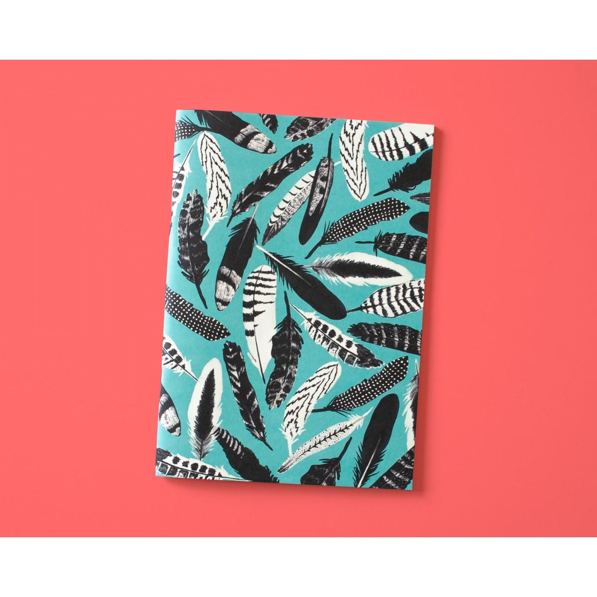 Notizheft A5 Federn blau // Papaya paper products