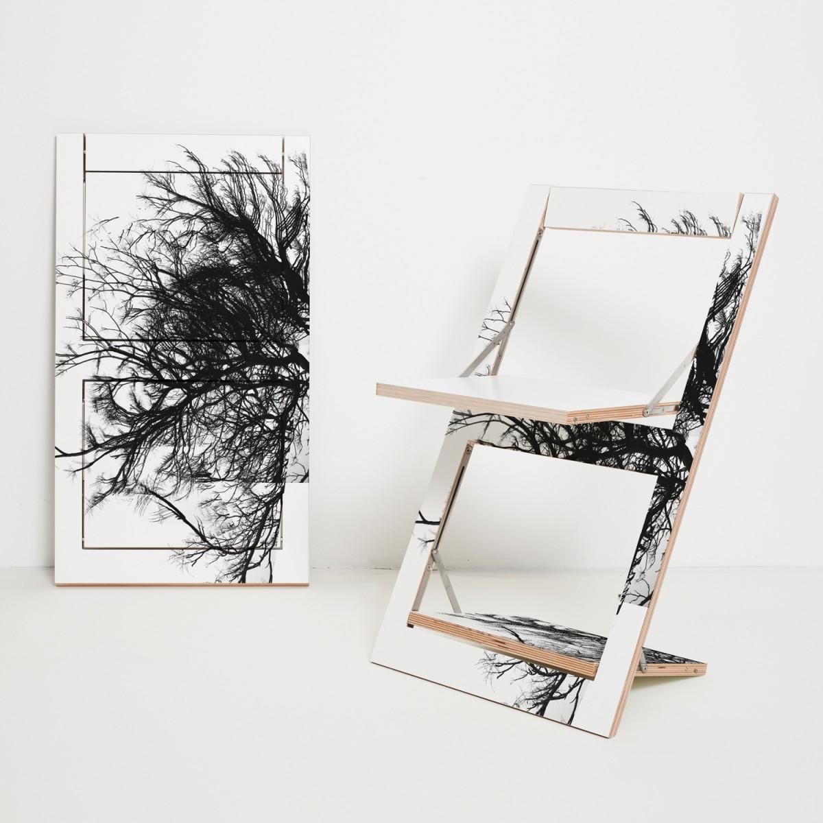AMBIVALENZ Klappstuhl Fläpps Baum/Weiß (einseitig bedruckt)