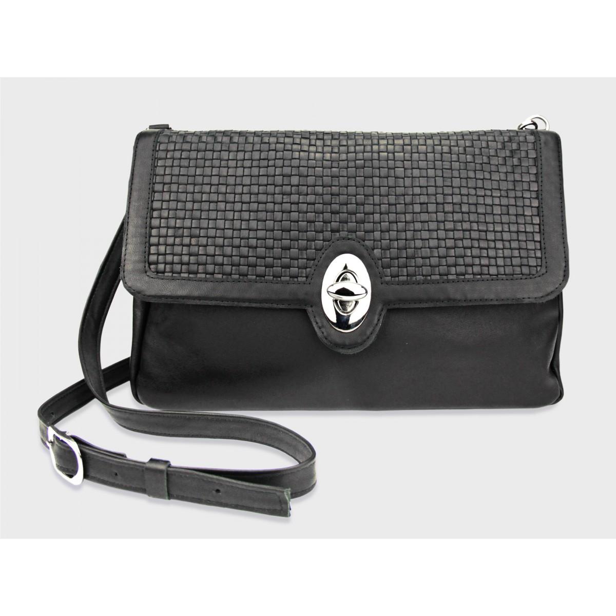 Flecht-Tasche Feline - Schwarz/Geflochten aus Leder