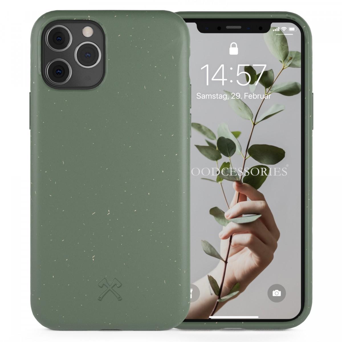 Woodcessories - Selbstreinigende iPhone Bio Hülle aus pflanzlichen Materialien - Kompostierbar &, Antibakteriell - Nacht Grün