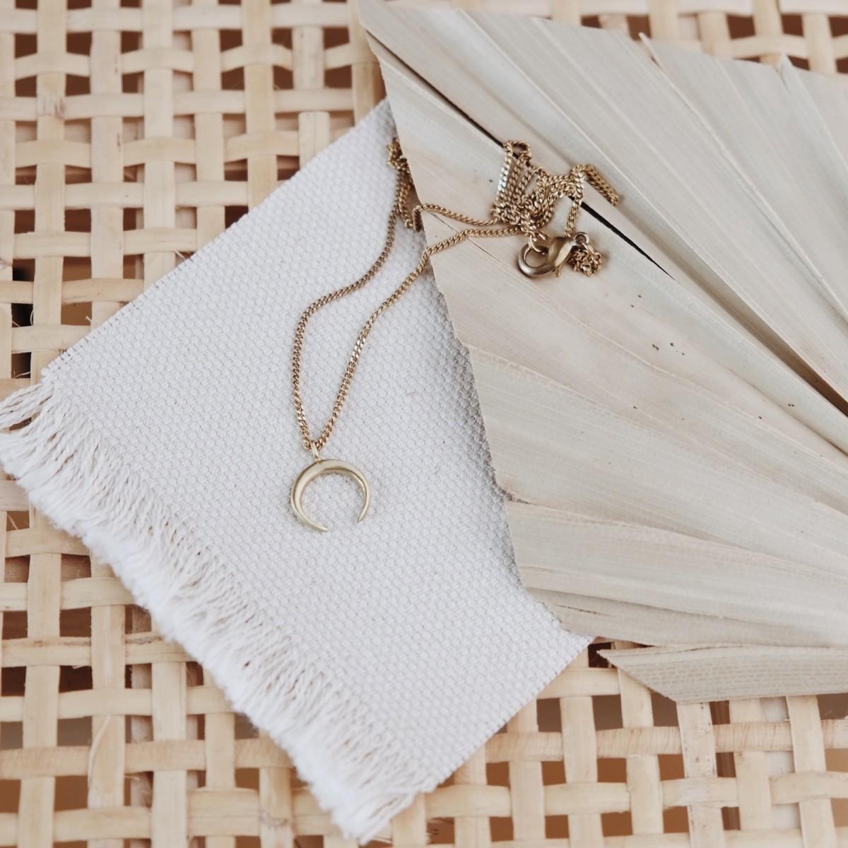 BRASSCAKE // Tiny Moon Necklace