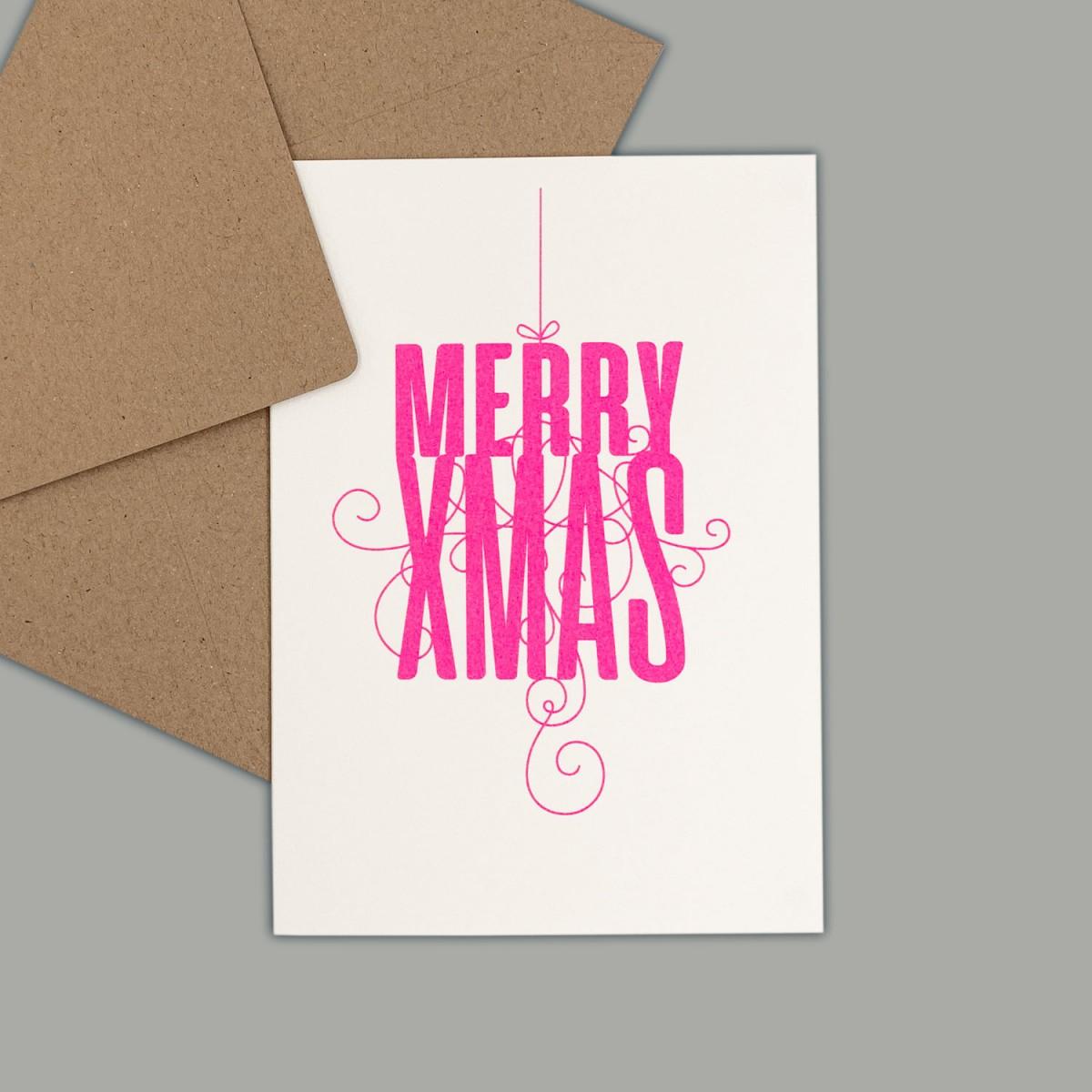 Feingeladen // FANCY TYPE // Merry Xmas (FP) // RISO-Klappkarte, A6