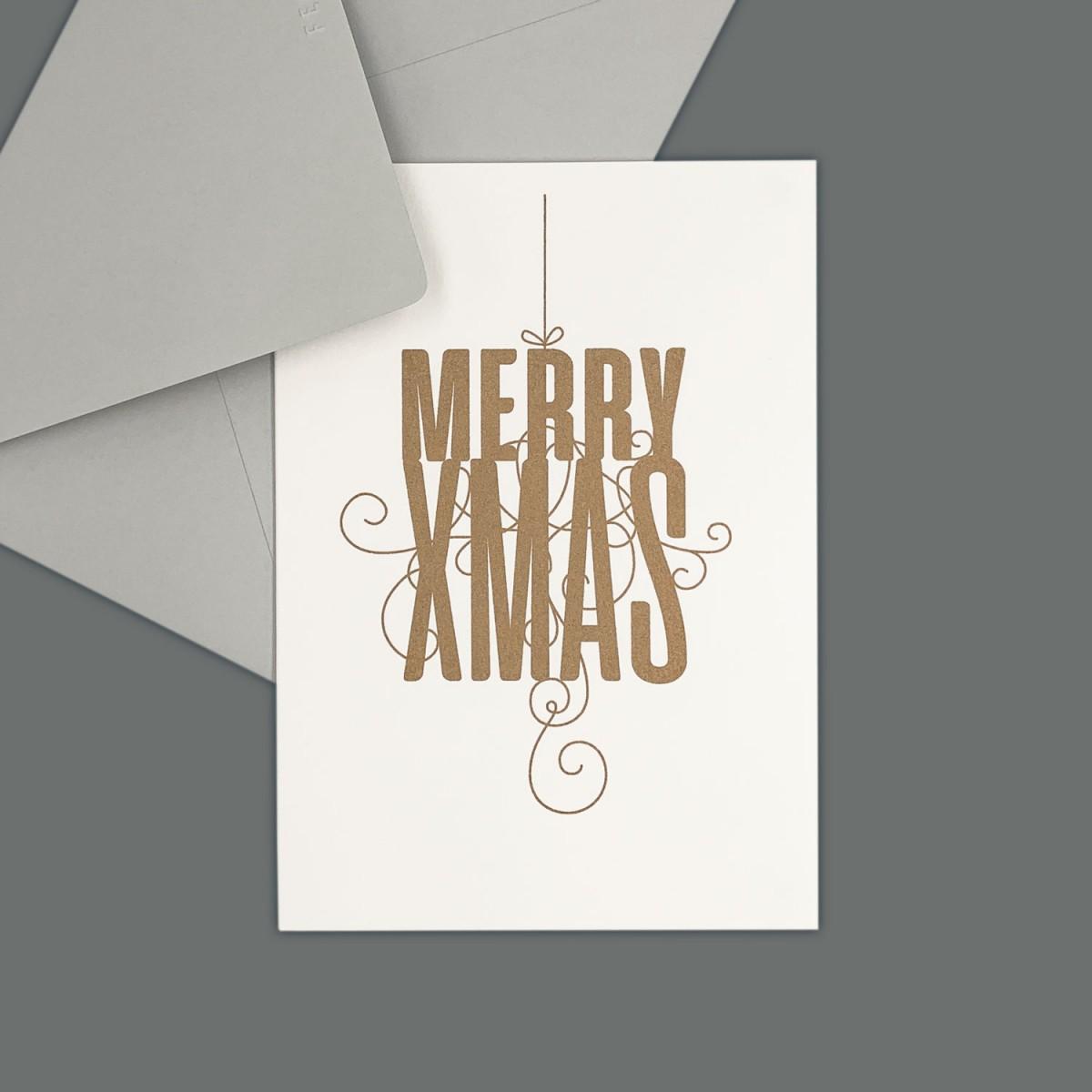 Feingeladen // FANCY TYPE // Merry Xmas (GD) // RISO-Klappkarte, A6