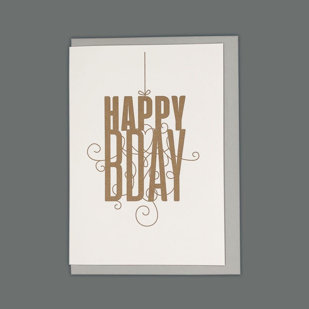 Feingeladen // FANCY TYPE // Happy Bday (CP) // RISO-Klappkarte, A6