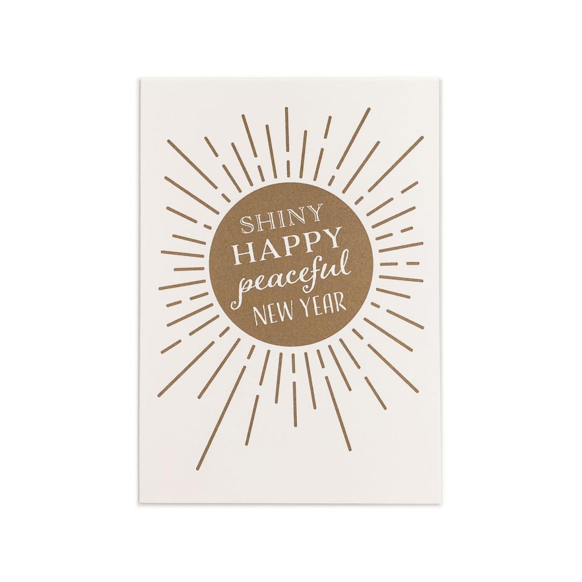 Feingeladen // KARAOKE INSPIRED // Shiny happy peaceful New Year (GD), RISO-Klappkarte, A6