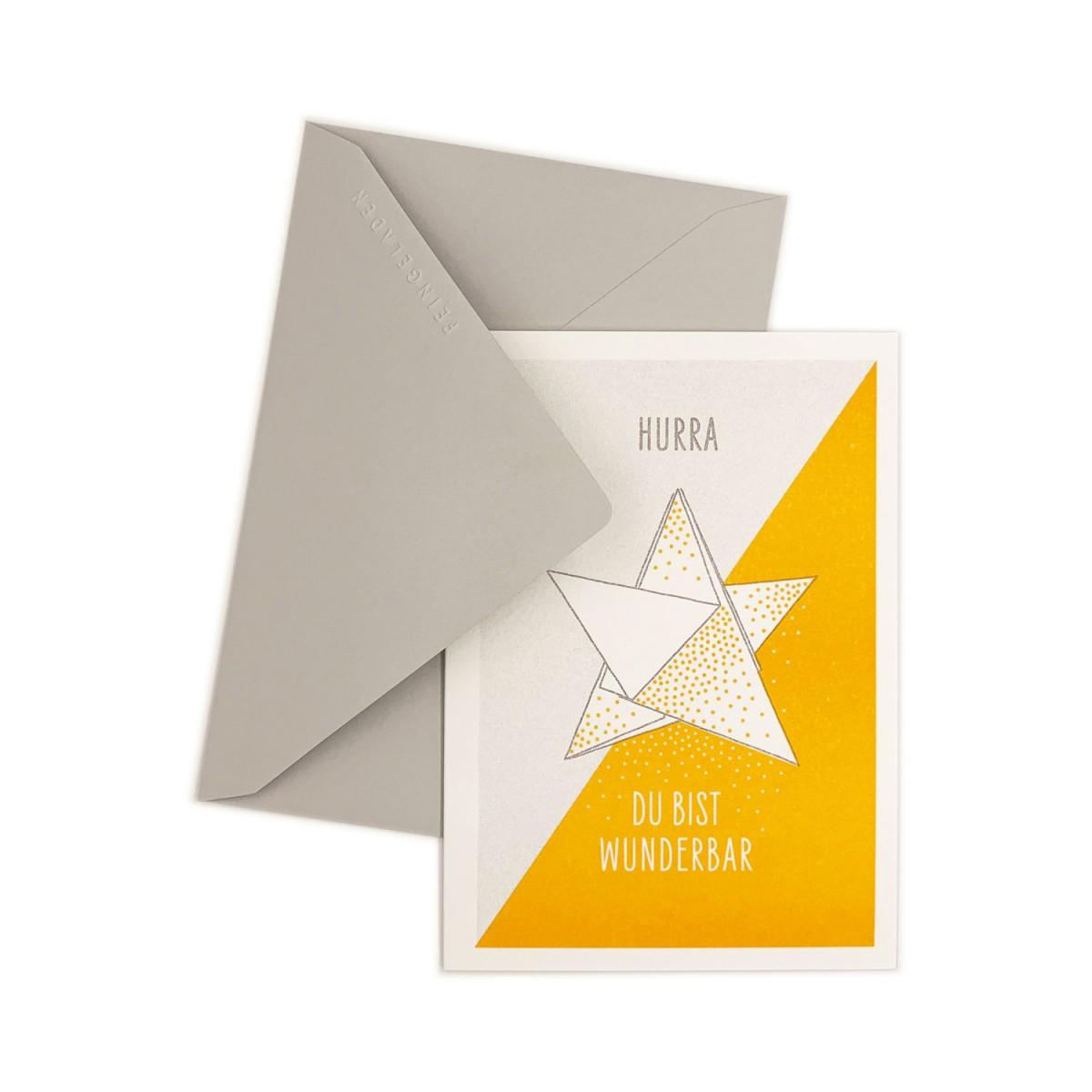 Feingeladen // LIKE ORIGAMI // Star »Hurra, du bist wunderbar« (GRSF) // RISO-Klappkarte, A6