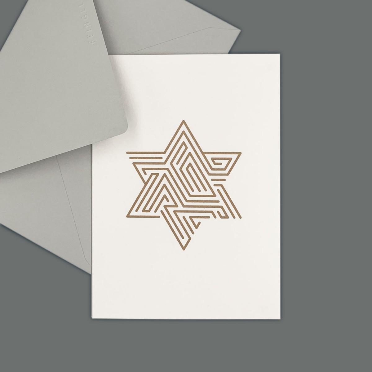 Feingeladen // LINE ART // Star (GD) // RISO-Klappkarte, A6
