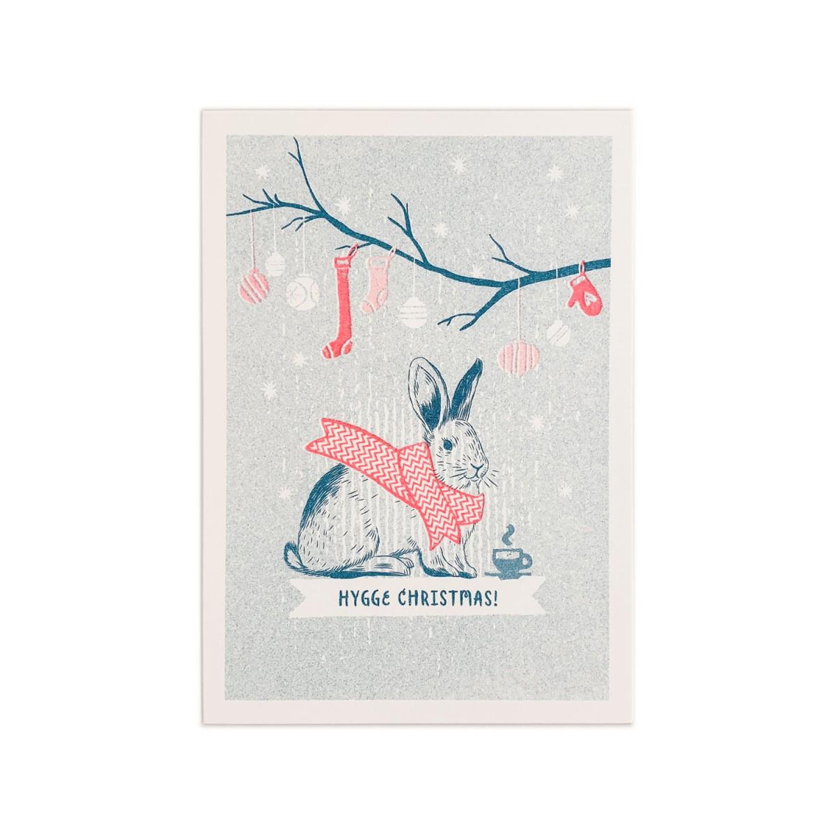 Feingeladen // LOVELY BEASTS // Bunny »Hygge Christmas!« (TLFR) // RISO-Klappkarte, A6