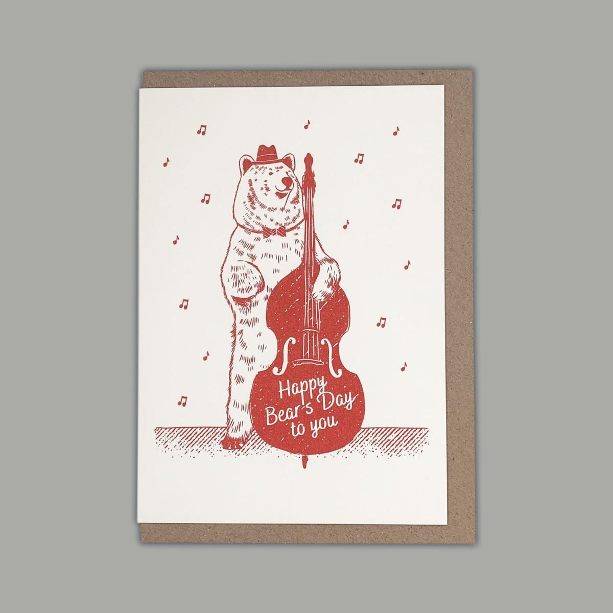 Feingeladen // LOVELY BEASTS // Bear »Happy Bear's Day to you« (CR) // RISO-Klappkarte, A6